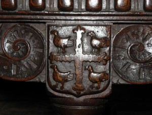 carved into an oak draw-leaf table over 400 years ago!