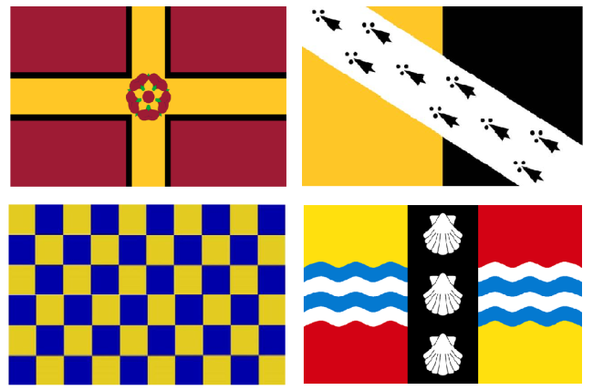 Clockwise from top-left, Northamptonshire, Norfolk, Bedfordshire and Surrey county flags.
