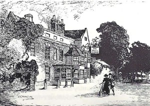 "The White Horse at Eaton Socon, an inn which features in Dickens' ""Nicholas Nickleby""."