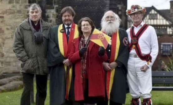 Trevor Fisher (history writer and heritage group member), Phillip Kinnersley (Chair of Trustees for Stafford Burgesses Guild), Margaret George (Chair of Staffordshire Heritage Group), John Edwards (Master of Stafford Burgesses Guild) and Professor Alan Eardley (Squire of Stafford Morris Men). Photo: Josh Cope.