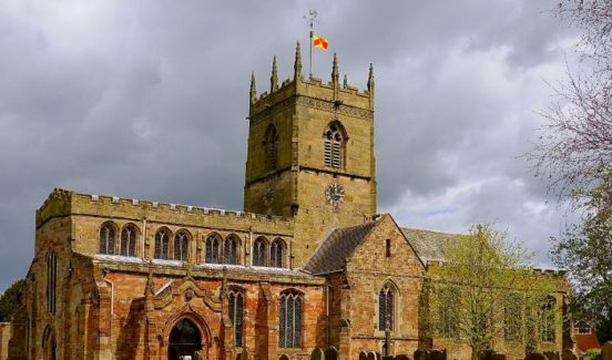The Staffordshire county flag flying over the church of Saint Lawrence, Gnosall (Shaun P. Jones)