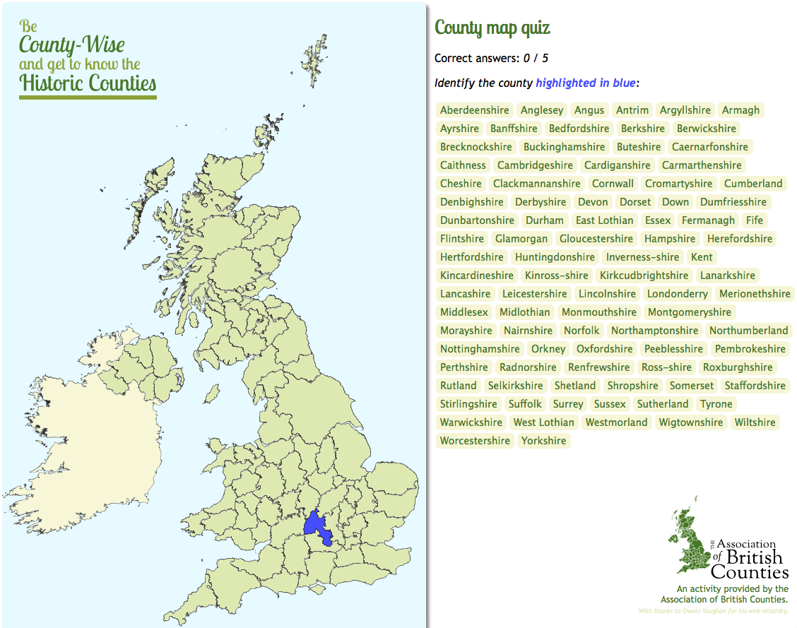 Try Your Luck At The Uk County Map Quiz Association Of British