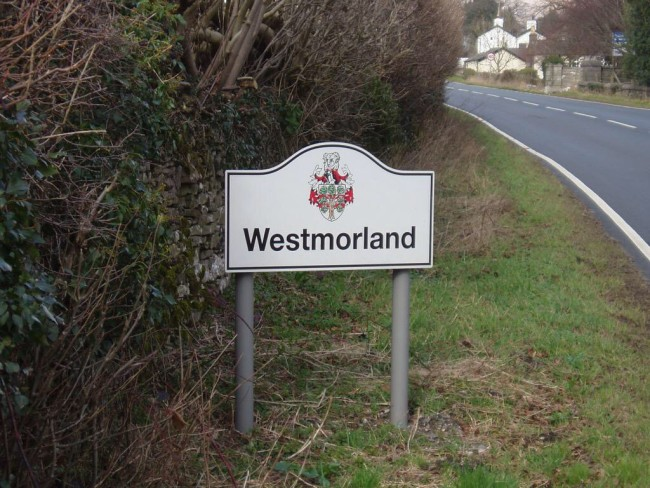 The Westmorland sign in Burton in Kendal.